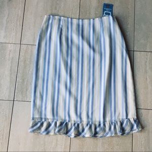 Anthropologie Skirts - NWT mac & jac Striped Midi Skirt with ruffled hem.